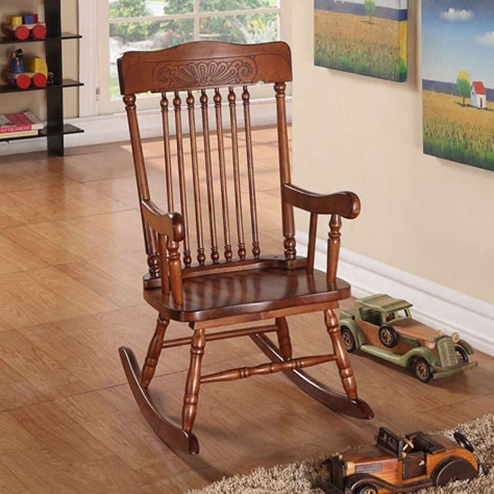 Kloris Collection Youth Kids Children Wood Cute Rocking Chair in ...