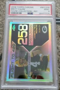2008-Topps-Chrome-Brett-Favre-FLIGHT-TO-420-REFRACTOR-PSA-9-MINT-PACKERS-RARE