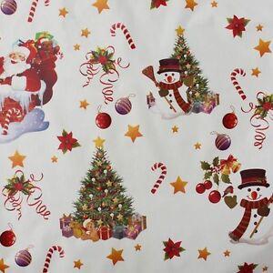 Round Wipeable Oilcloth Xmas Fun White Christmas Wipe