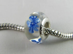 """925 SILVER STAMPED /""""BLUE FLOWER/"""" MURANO GLASS BEADS EURO CHARM BRACELETS// DC 001"""