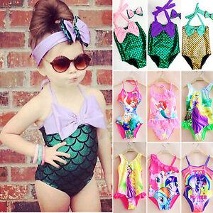 bambino-bambine-SIRENA-Bikini-Pezzo-Unico-Costume-Costume-da-Bagno-Nuoto-2