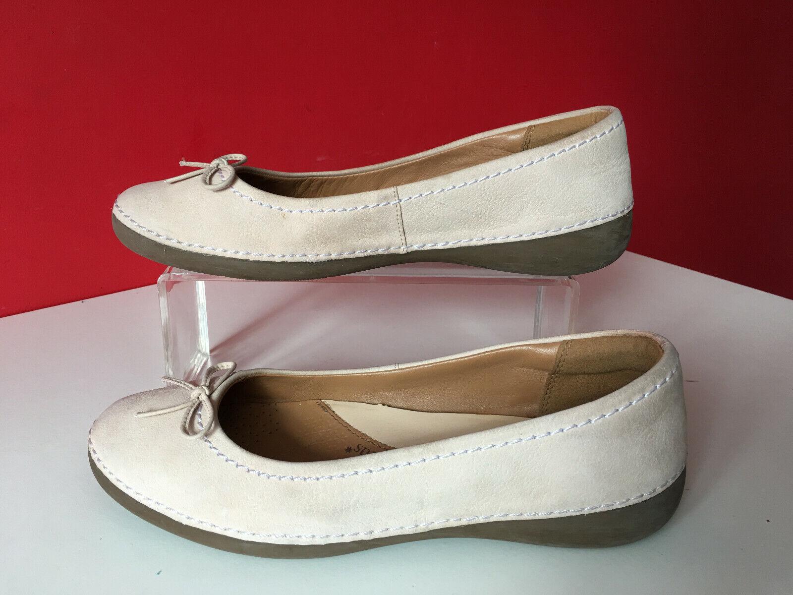 Clarks Plus Beige Leather Comfort Pump Ballet Dolly Flat shoes UK 6 EUR 39