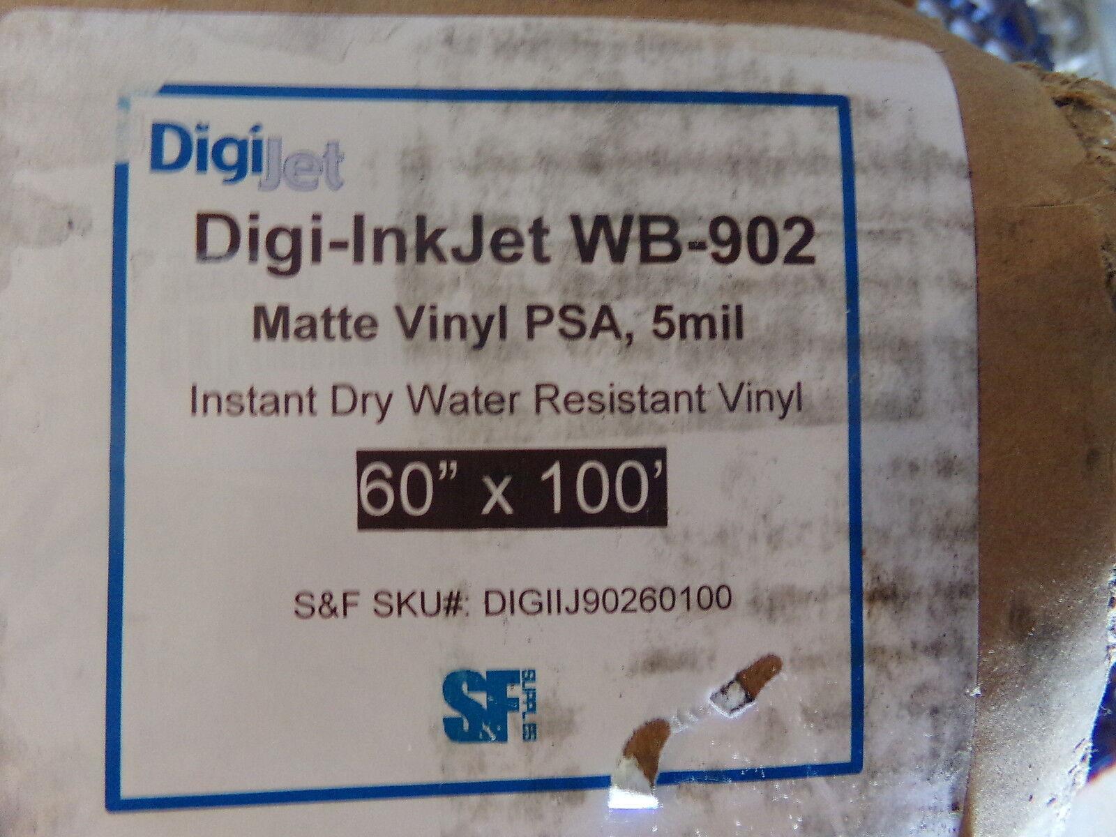 DIGI-INKJET WB-902 MATTE VINYL PSA, 5MIL 60  x100' - NEW (ORIGINAL BOX DAMAGED)