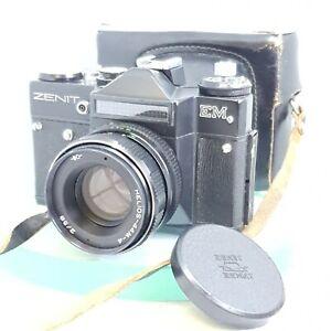 gt-Seltene-1975-UdSSR-Sowjetische-Zenit-EM-Vintage-Film-Camera-Helios-2-58-Leder-Case-662