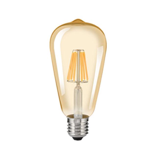 2/4/6/8W AMBER Edison Retro Antik ST64 Faden Birne LED Filament 110/220V