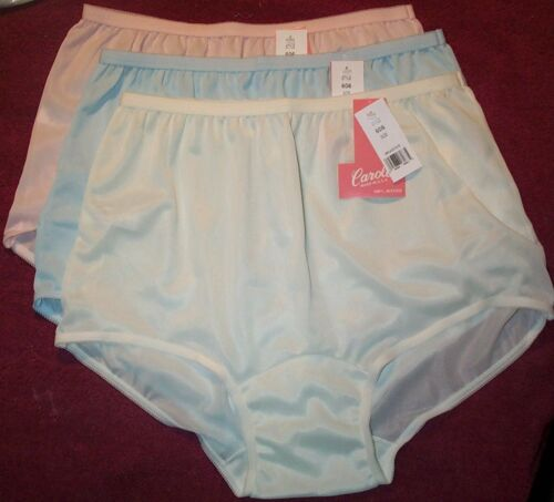 3 Pair Pastel ACETATE Panties Size 10 Brief Panty No Cotton in Crotch USA Made
