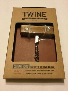 TWINE-Country-Home-Brown-Steel-Wood-Corkscrew-New