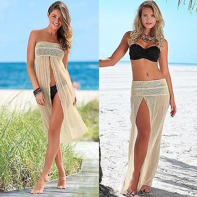 Women Bikini Swimwear Cover Up Beach Dress Mesh Hollow Crochet Bust Skirt