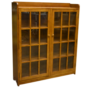 Details About Mission Oak 2 Door Bookcase With Gl Doors Michael S Cherry