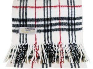 Men/'s Women/'s White Black Red Large Stripe Plaid Cashmere Feel Scarf*100/%Acrylic