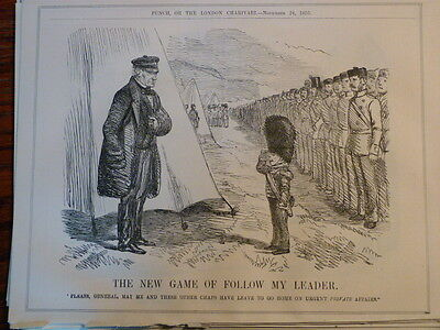 "7x10"" PUNCH cartoon 1855 NEW GAME OF FOLLOW MY LEADER crimea panmure"