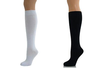 Black Or White Women Ladies Girls School Knee High Cotton Plain Long Socks