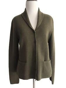 Eileen-Fisher-Womens-Size-S-Olive-Green-Italian-Yarn-Cardigan-Button-Up-Sweater