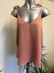 River-Island-Bow-Tie-Shoulder-Strap-Copper-Pink-Vest-Cami-Top-Size-6-10