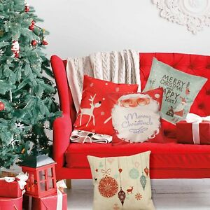 Happy-Christmas-Cushion-Xmas-Ambience-Square-CUTE-Pillow-Case-Sofa-Home-Decor-AU