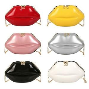 Lips-Women-PVC-Handbag-Chain-Messenger-Bag-Shoulder-Evening-Party-Clutch-Satchel
