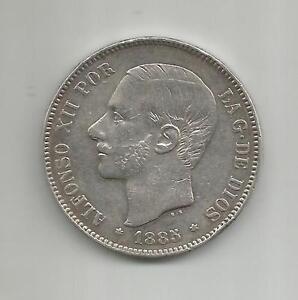 SILVER COIN 4RW 29JUN SPAIN 5 PESETAS 1885 ALFONSO XII XF CONDITION