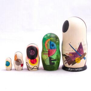Details About 6 Kandinsky Black Relationship Nesting Doll Abstract Art Moma Handmade