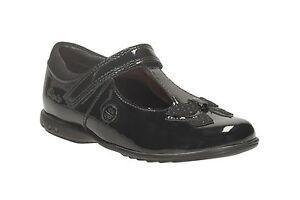 Detalles de Clarks 'Trixi Run' Niña con Luz Zapatos de Piel Negros Ancho Ajuste G