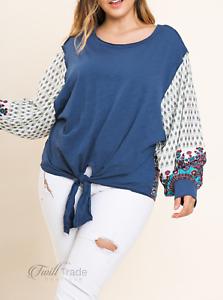 Umgee-Paisley-Print-Long-Puff-Sleeve-Slub-Knit-Plus-Size-Top-NWT-Size-XL-1X