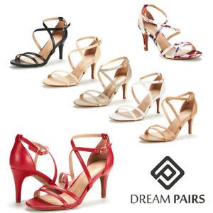 Women's Open Toe Cross Strappy Sandals Heels Ankle Strap Wedding  Dress Shoes US