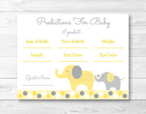 picture regarding Printable Elephant Baby Shower identify Data pertaining to Yellow Gray Elephant Youngster Shower Kid Predictions Video game Playing cards Printable