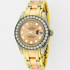 Rolex Masterpiece Pearlmaster Tridor 80299 18K Original Diamonds Watch 29mm Box