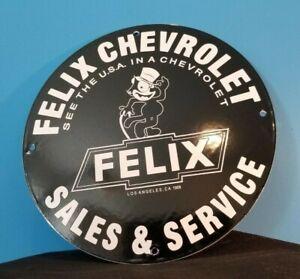 VINTAGE-FELIX-CAT-CHEVROLET-PORCELAIN-BOW-TIE-GAS-TRUCKS-SERVICE-STATION-SIGN