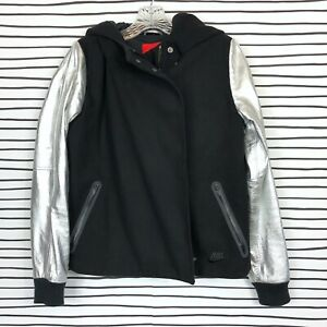 official photos cf9ce 680b3 Image is loading Nike-Destroyer-Varsity-Jacket-Black-Silver-Leather-Sleeves-
