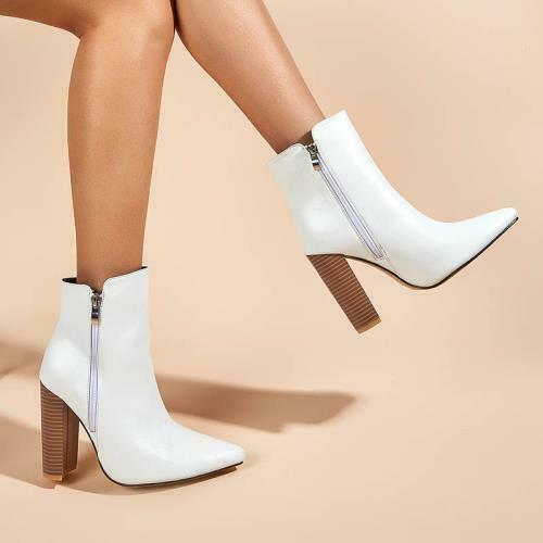 Details about  /Sexy Womens Ladies High Block Heel Zip Up Pointy Toe Office Casual Ankle Boots D