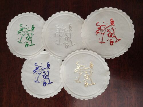 25 x WEDDING BIRTHDAY PARTY PAPER COASTERS WITH FOIL CHAMPAGNE GLASSES
