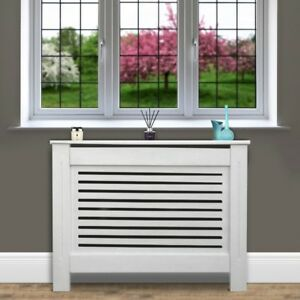 Kensington-Radiator-Cover-Medium-111-5x19x82cm-Modern-MDF-White-Wood-Cabinet