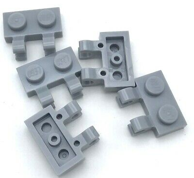 Lego 5 New Light Bluish Gray Plates Modified 1 x 2 with Open O Clips Horizontal