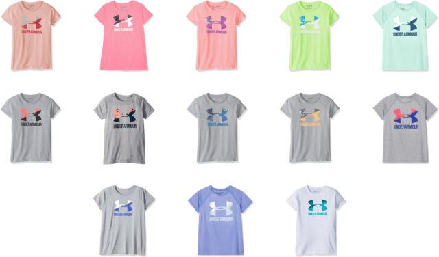 Under Armour Kids Girls UA Solid Big Logo Short Sleeve Tee Black//Steel//White Large Big Kids