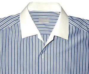 MINT-STEFANO-RICCI-BLUE-WHITE-STRIPE-HANDMADE-CASUAL-DRESS-SHIRT-EU-44-17-5