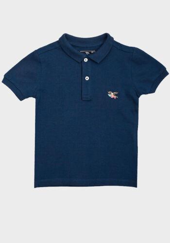 NUOVO RAGAZZO BAMBINO COTONE Blu Navy Manica Corta Con Colletto Polo T-Shirt Top Taglia 4-6-8 ANNI