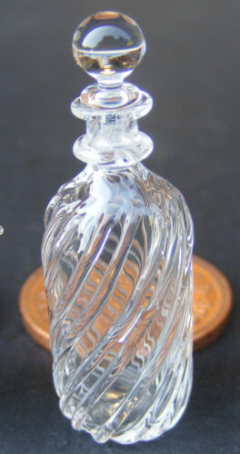 1:12 Scale Clear Patterned Glass Decanter Tumdee Dolls House Drink Accessory GDW