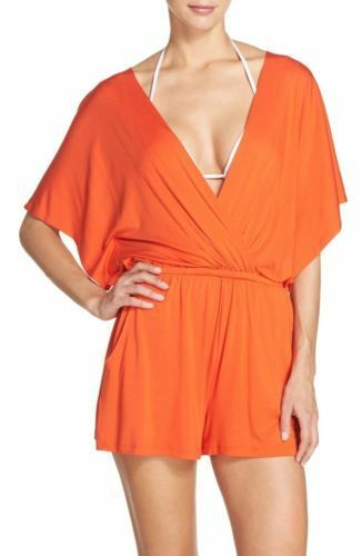 c042263043c Trina Turk Gypsy Jersey Kimono Sleeve Romper Cover-up Small Dress Flame for  sale online