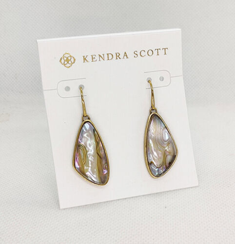 New Kendra Scott McKenna Drop Earrings In White Abalone Vintage Gold