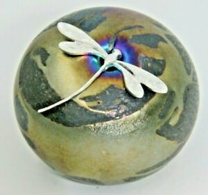 Neo Art Glass Purple Gold Pebble Paperweight Sterling Silver Dragonfly K. Heaton-afficher Le Titre D'origine