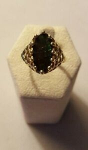 KABANA-AMMOLITE-10K-GOLD-RING-SZ-10-5-RETIRED-BASKET-WEAVE-ESTATE-VINTAGE