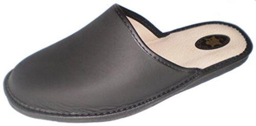 """""""Marited"""" Hommes / Femmes en cuir naturel noir Pantoufles simples mule toutes le free shipping"""