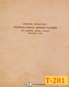 Thompson B and F Type, Surface Grinder, Operations Manual 1957