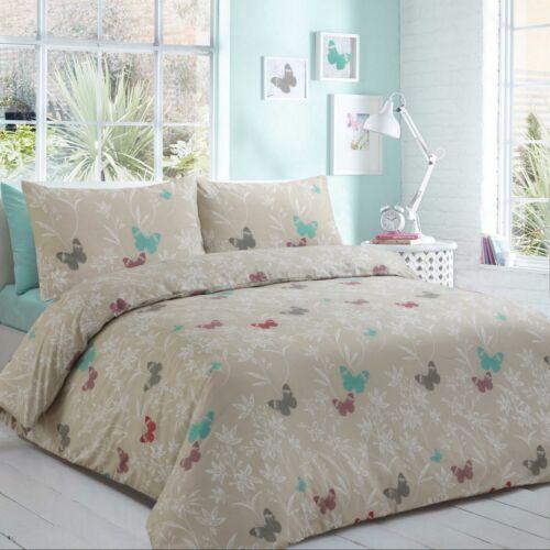 100/% Egyptian Cotton Printed Duvet Cover Sets Sandy Butterflies /& Petals King
