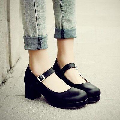 Sweet Women's Lolita Girls Round Toe Mary Jane Ankle Strap Block Low Heel Shoes