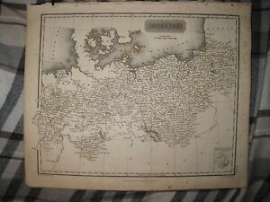 ANTIQUE 1817 PRUSSIA GERMANY TO BAVARIA AREA ARROWSMITH DATED MAP RHINE DUTCHY N