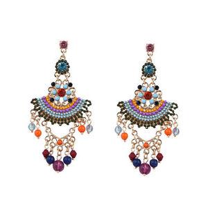 earrings-Clips-Candlestick-Mini-Pearl-Multicolored-Orange-Blue-Tassel-A1