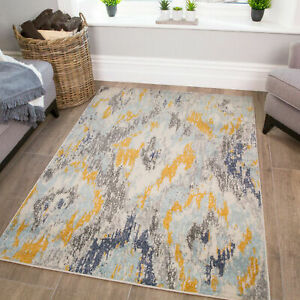 Grey Amp Ochre Abstract Rug Cheap Rugs For Living Room