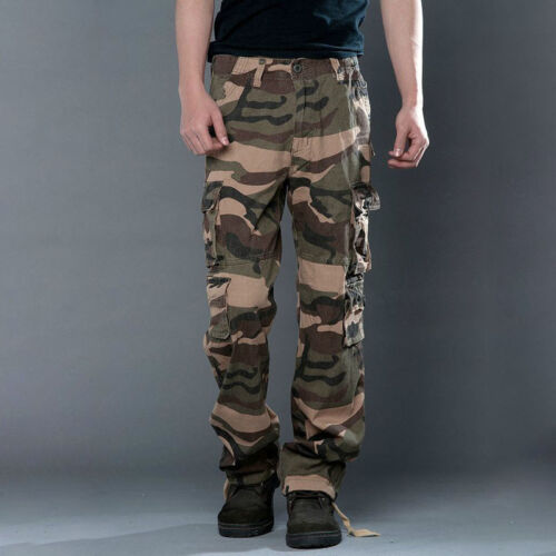 Herren Cargo Hose Cargohose Camouflage Vintage Freizeithose Army Outdoor Hosen L