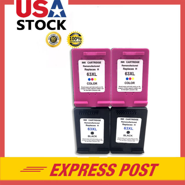 #63 XL 63XL 4 Pack Black & Color Ink Cartridges for HP ...